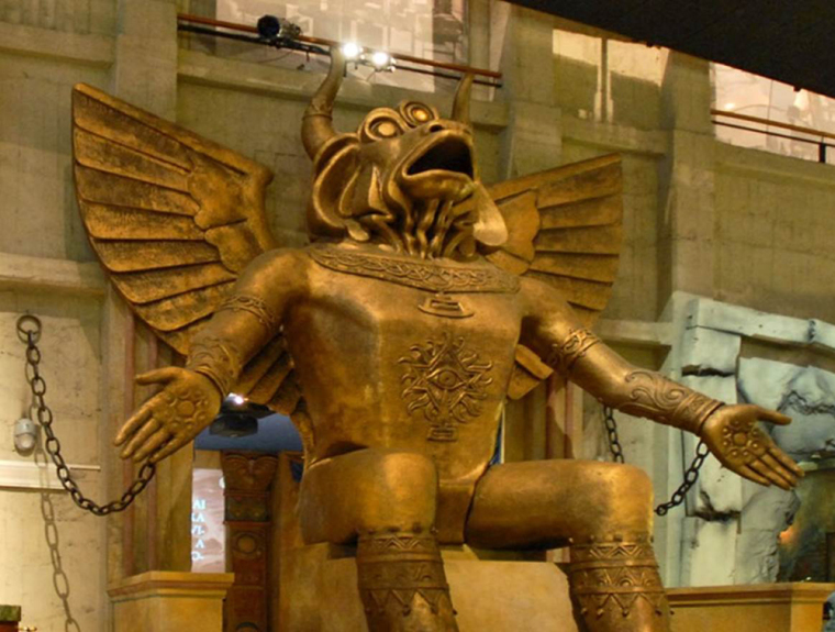 Statue of Moloch, Abominable Idol of Child Sacrifice on Display at Colosseum in Rome, Holy Site for Christian Martyrs