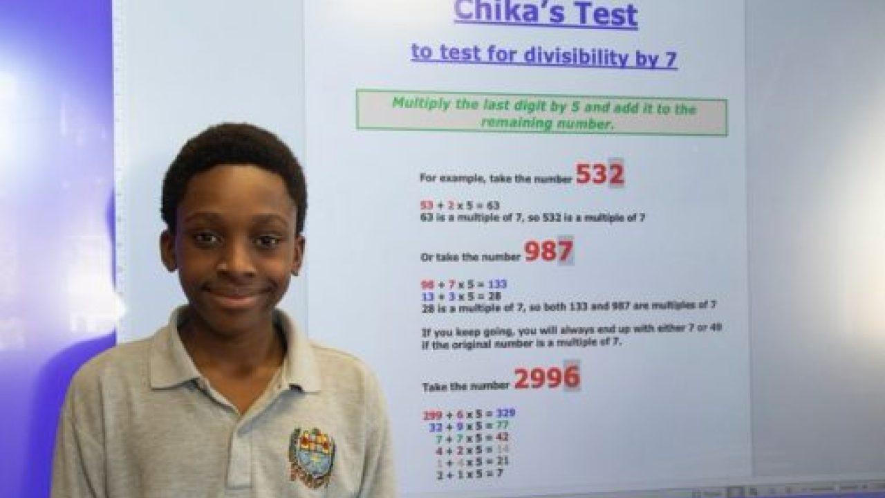 Nigerian kid, Chika Ofili Propounds New Mathematics Formula